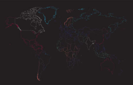 World map Info graphic, colorful borders.