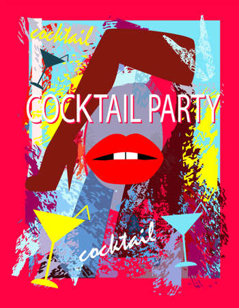 Cocktail party with sexy legs and lips and martini glasses vector background 矢量图像