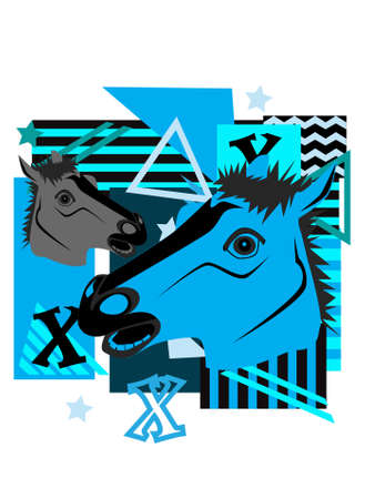 Horses, abstract animal background blue and Grey color. 矢量图像