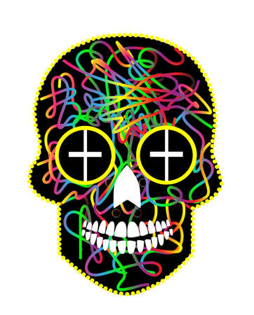 Sugar skull vector, Day of the dead colorful icon background.