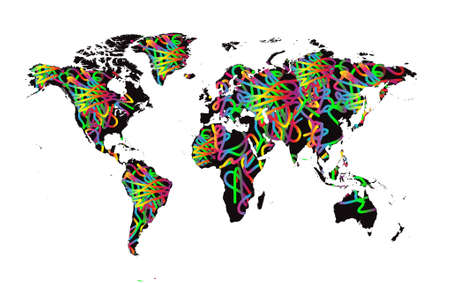 Colorful world map vector decorative fun background