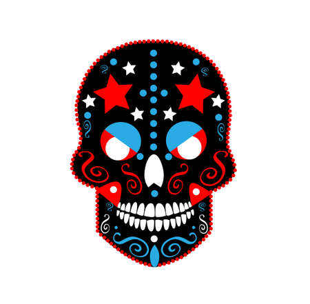 Mexican skull with stars, Devil icon red and black, vector illustration 矢量图像