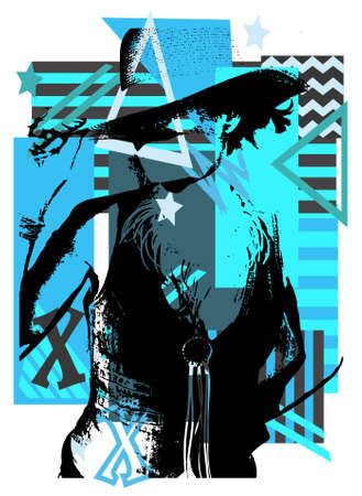 Cowgirl silhouette on the black and blue background with stripes and stars illustration background