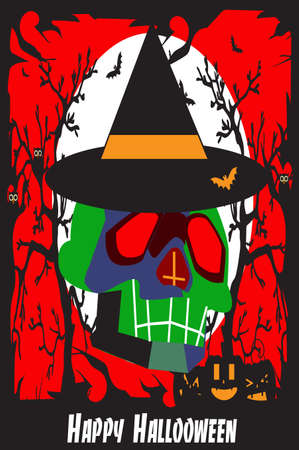 Halloween background with witch skull in the forest, with pumpkins. Vector illustration. 矢量图像