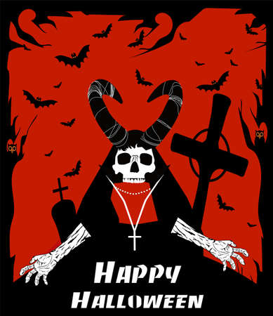 Halloween background with Devil skull on the grave and text. Red background, vector. 矢量图像