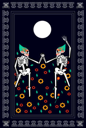 Dancing skeletons on the Moonlight with flower field, Halloween background