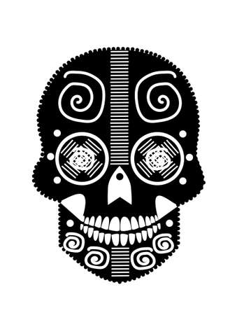 Day of the Dead, sugar skull, black and white. vector illustration