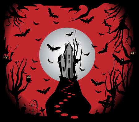 Halloween background with horror house on the hill in the forest, Moonlight and bats. 矢量图像