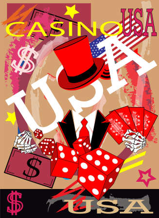 Casino background with skull, dices and cards. Red and pink color.