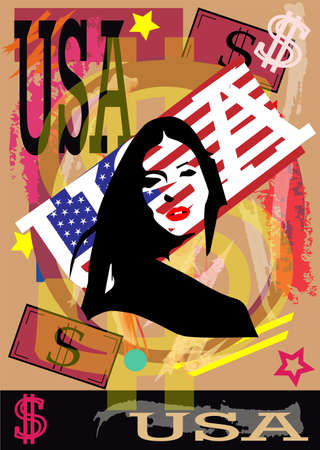 American flag background with girl silhouette and USA text, vector.