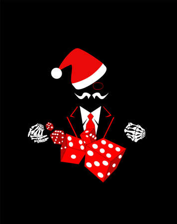 Casino background with skull Santa in tuxedo and dices. Vector red color.