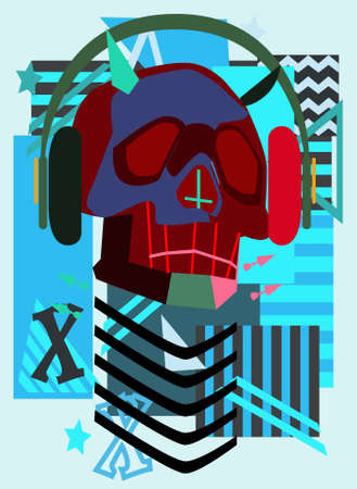 Music robot skull with headphones and abstract background, blue color.