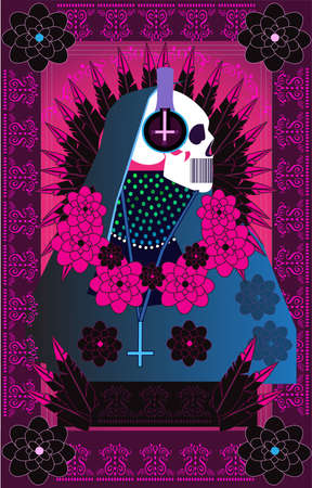 Death skull with headphones and pink flowers, abstract background