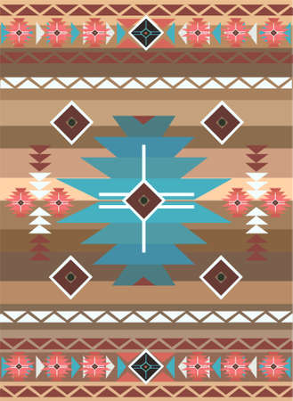 Native American pattern brown color vector background