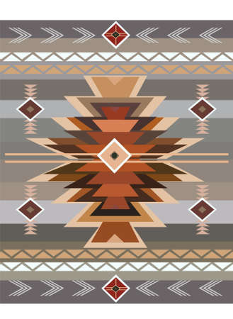 Native American pattern grey and brown color vector background Ilustração