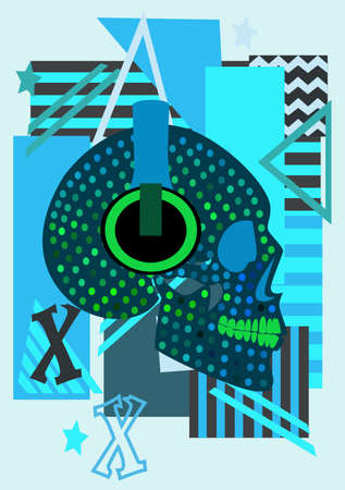 Halftone blue skull with headphones listening music, pop art background.