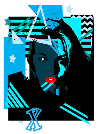Sexy girl with red lips illustration and blue pop art background