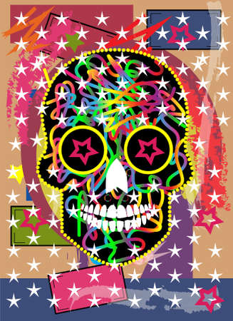 Mexican skull with colors and stars, pop art vector background.