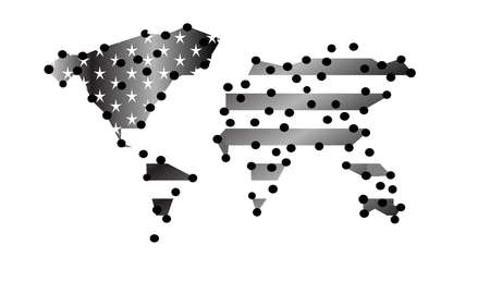 World map info graphic with American flag silver. Banco de Imagens