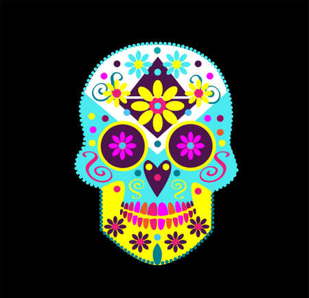 Mexican sugar skull with pink flower eyes, vector
