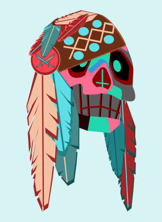 Pirate skull with feathers blue and pink color background vector Ilustração