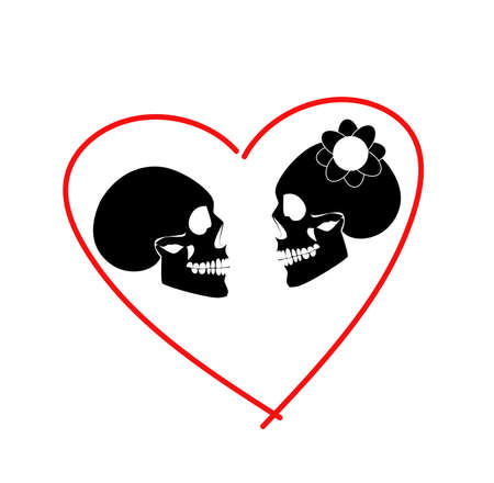 Skull icon wedding couple background in heart