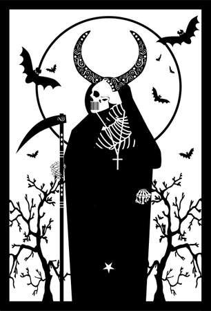 Card skull death with horns black and white vector background