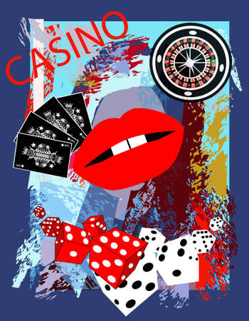 Casino background with red lips, dices and roulette wheel, cartoon. Ilustração