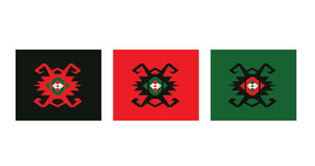 Ethnic pattern black, red and green on the white background
