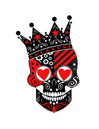 King skull with heart eyes on the white background Ilustração