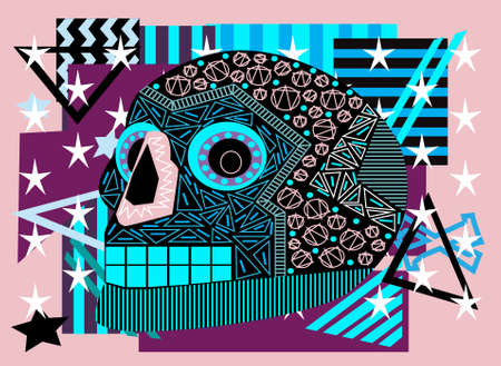 Skull vector geometric background blue and pink color