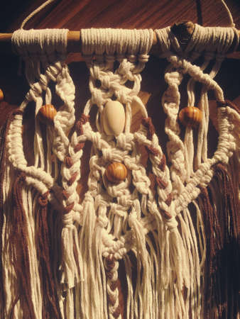 Macrame home decor wall hanging handmade photo Banco de Imagens