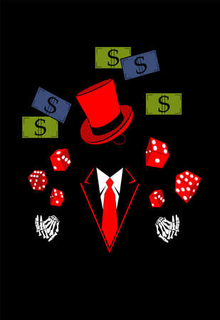 Casino background with skull  in tuxedo, dices and money dollar bills. Vector red color. Ilustração