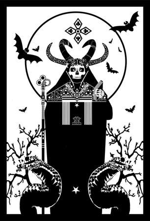 Tarot Card skull death with horns and snakes, black and white background
