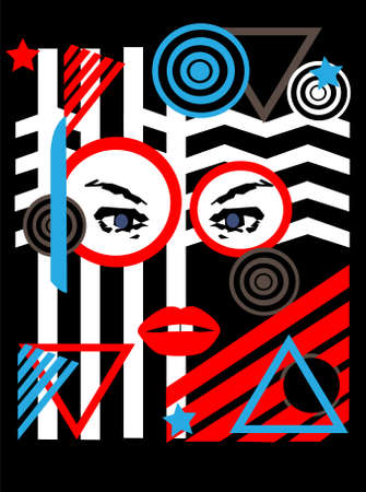 Abstract Women face on the Colorful pop art background