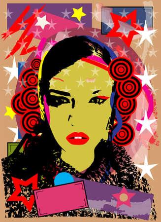 Spanish girl portrait with pop art background vector
