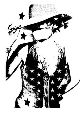 Cowgirl silhouette with cowboy hat and star, background vector Vettoriali