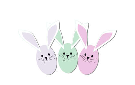 Easter bunny eggs pastel colors on the white background , vector illustration. Vettoriali