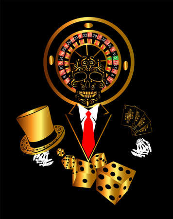 Casino skull with cylinder hat and cubes gold Vettoriali