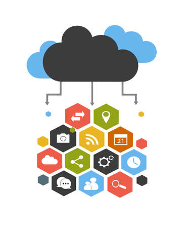 Cloud computing with social network vector illustration Vettoriali