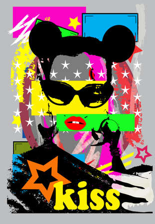 Sexy girl with mouse ears and sunglasses, pop art background