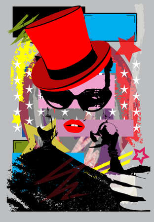 Sexy girl with sunglasses and cylinder hat, pop art background