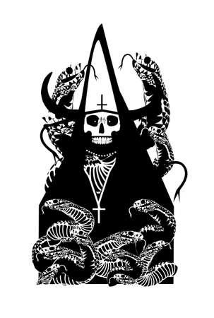 CardTarot Card skull death with horns and snakes vector background
