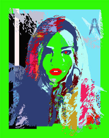 Sexy girl with red lips and neon green background
