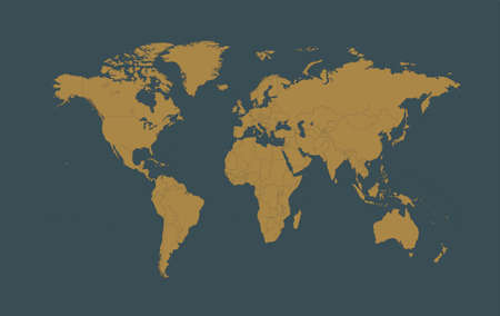World map gold with borders, vector illustration