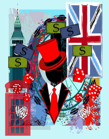 Casino logo with skull gentlemen England and British flag