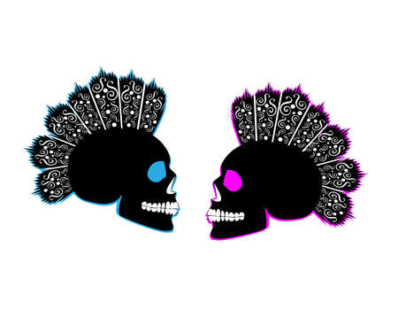 Punk skull icon wedding couple background in heart