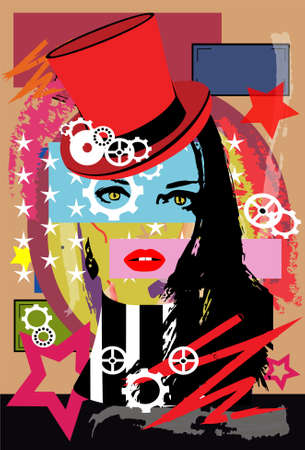 Steam punk girl with cylinder hat and red lips. Pop art background.