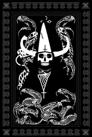 Tarot Card skull death with horns and snakes vector background.