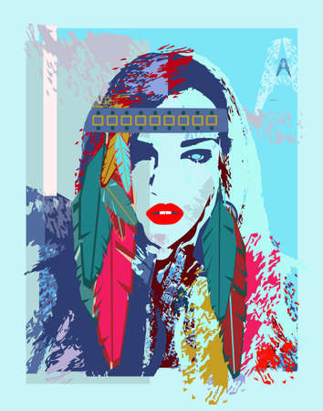 Girls portrait with feathers. Poster vector background. Vettoriali